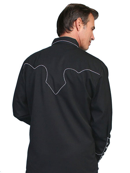 4102becbee Scully Long Sleeve Snap Front Western Shirt - Black With White Stitch  Piping - Men s Retro