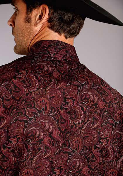 ca394da2ea25d Stetson Paisley Long Sleeve Snap Front Western Shirt - Wine - Men s Western  Shirts