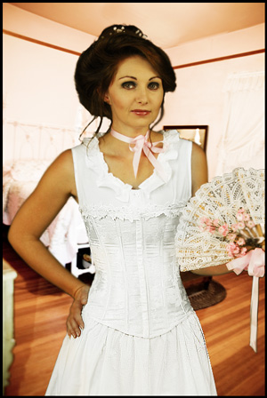 empire satin brocade corset white ladies old west