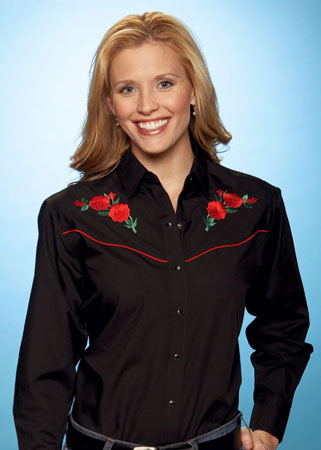 Ely Cattleman Black & Red Rose Long Sleeve Snap Front Western Shirt