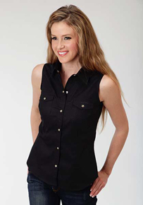 Roper Ladies Sleeveless Black Western Shirt