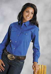 Roper Royal Blue Poplin Long Sleeve Snap Front Western Shirt - Ladies