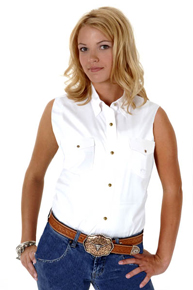 Roper Ladies Sleeveless White Western Shirt