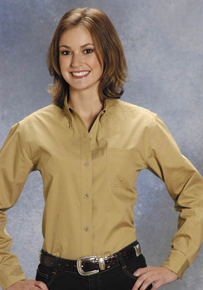 Roper Khaki Poplin Long Sleeve Button Front Western Shirt - Ladies
