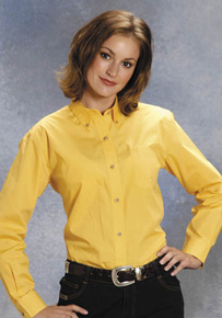 Roper Ladies Solid Yellow Poplin Long Sleeve Button Front Western Shirt