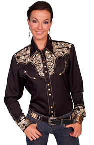 "Scully Black with Gold Roses ""Gunfighter"" Ladies Western Shirt"