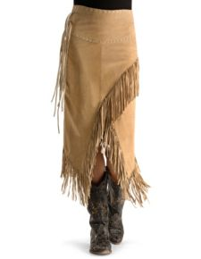 Scully Old Rust Leather Fringe Skirt