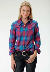 Bright Ombre Plaid  Ladies Shirt