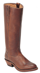 Boulet Brown Deertanned Stove Pipe Cowboy Boot   - Round Toe