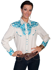 Scully Cream with Turquoise Roses Gunfighter Long Sleeve Snap Front Western Shirt - Ladies