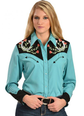 Scully Turquoise Embroidered Ladies Western Retro Shirt