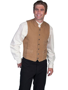 Scully Men's Cotton Canvas Vest – Brown