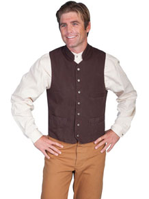Scully Men's Cotton Canvas Vest – Walnut