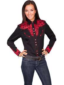 Scully Black with Crimson Roses Gunfighter Long Sleeve Snap Front Western Shirt - Ladies