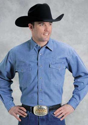 4c6f0af9f9 Roper Denim Western Shirt - Blue - Tall - Men s Western Shirts ...