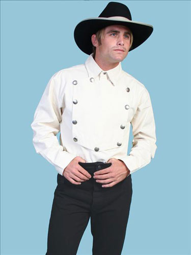 Scully Bib Front Shirt - Natural - Men's Old West Shirts | Spur Western Wear