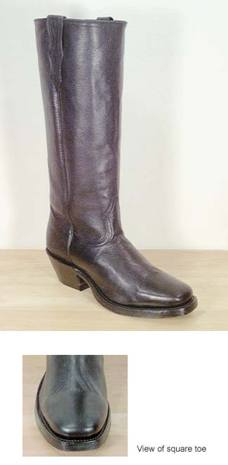 e490491d5eb Boulet Deertanned Stove Pipe Cowboy Boot - Square Toe - Black