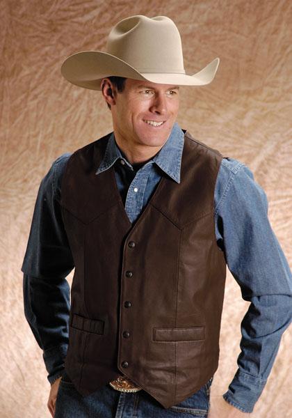 Roper Goat Leather Western Vest Brown Men S Leather