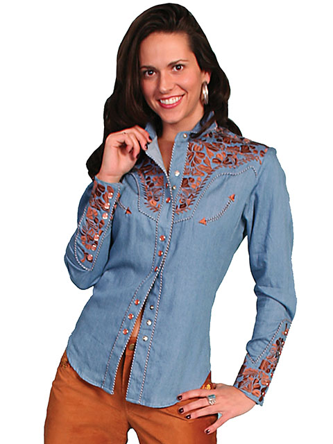 Scully Gunfighter Long Sleeve Snap Front Western Shirt - Blue with Copper Roses - Ladies' Retro Western Shirts | Spur Western Wear