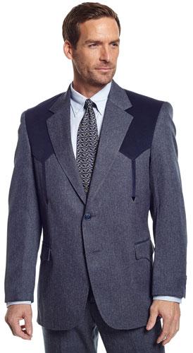 Circle S Boise Western Suit Coat Heather Navy Men S