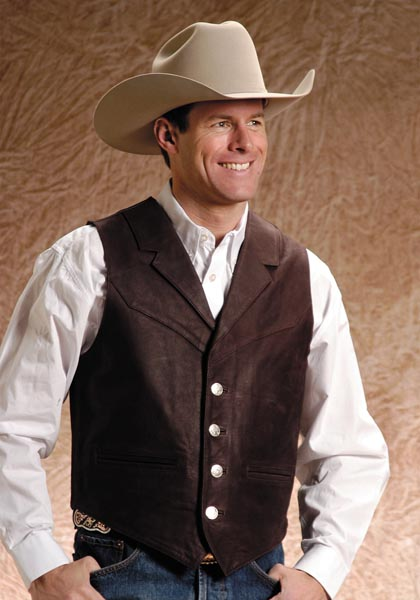 Roper Notch Collar Leather Western Vest Dark Brown Men