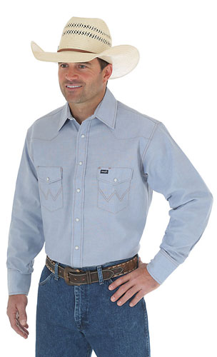 Wrangler Long Sleeve Chambray Work Shirt - Men's Western Shirts | Spur Western Wear
