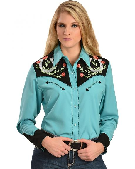 515188d15a Scully Floral Justice Long Sleeve Snap Front Western Shirt - Turquoise -  Ladies  Retro Western Shirts