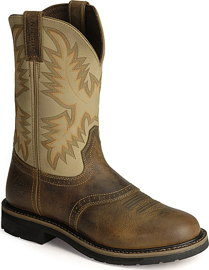 Justin Stampede Superintendent Work Boot Creme Men S