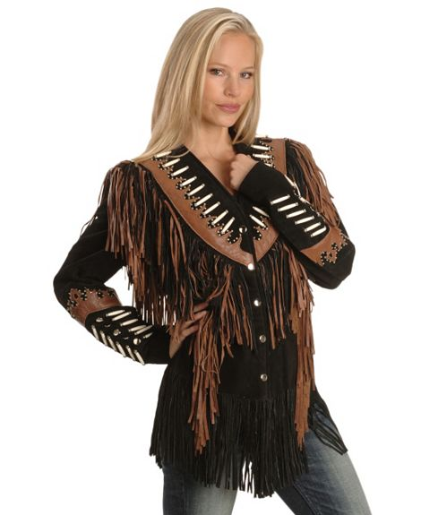 caa0c16d7 Liberty Leather Ladies Black with Rust Suede Fringe Leather Jacket