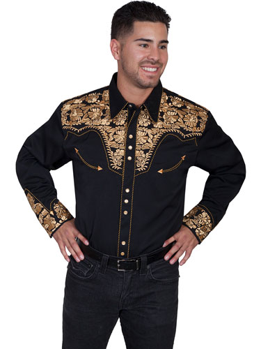 Scully Gunfighter Long Sleeve Snap Front Western Shirt - Black with Gold Roses - Men's Retro Western Shirts | Spur Western Wear