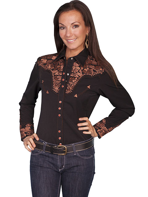 Scully Gunfighter Long Sleeve Snap Front Western Shirt - Black with Copper Roses - Ladies' Retro Western Shirts | Spur Western Wear