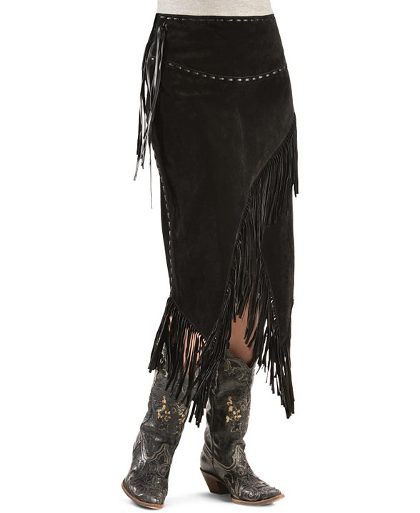 371bf4d152 Scully Boar Suede Leather Fringe Skirt - Black - Ladies Skirts and  Petticoats | Spur Western Wear