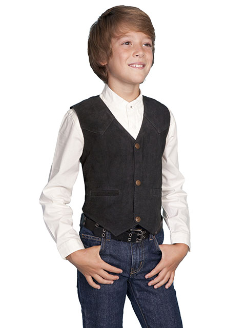 Scully Boar Suede Western Vest - Black - Boys' Old West Vests And Jackets | Spur Western Wear