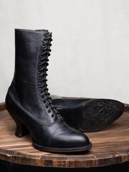 Oak Tree Farms Elegant Lace Up Mirabelle Boot Black