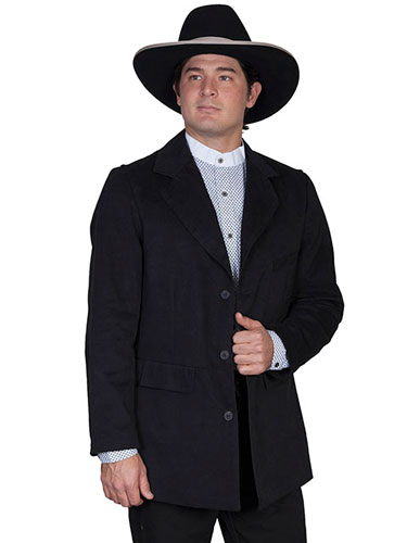 Wah Maker Brushed Cotton Town Coat - Black - Men's Old West Vests And Jackets | Spur Western Wear
