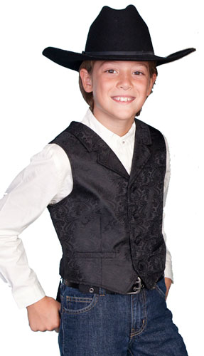1c449799b Scully Notched Lapel Paisley Vest - Black - Boys' Old West Vests and  Jackets   Spur Western Wear