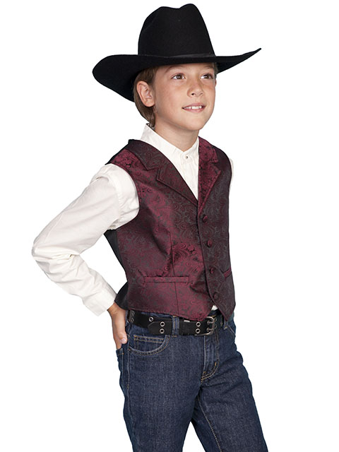Scully Notched Lapel Paisley Vest - Burgundy - Boys' Old West Vests and Jackets | Spur Western Wear