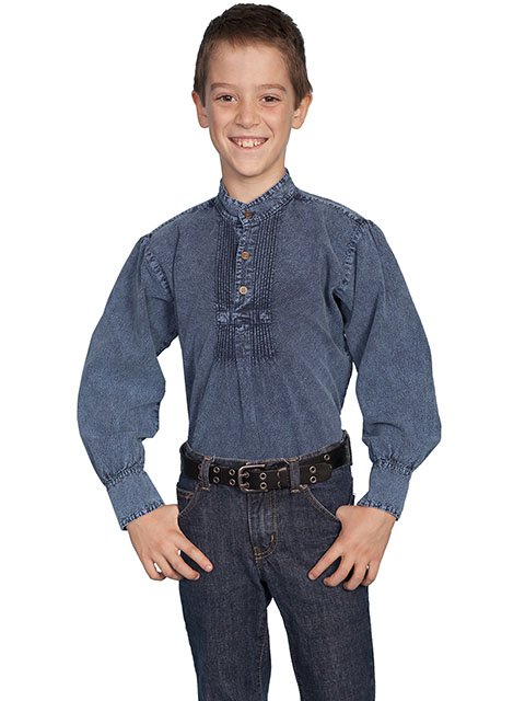 Scully Pullover Gambler Shirt - Blue - Boys' Old West Shirts | Spur Western Wear