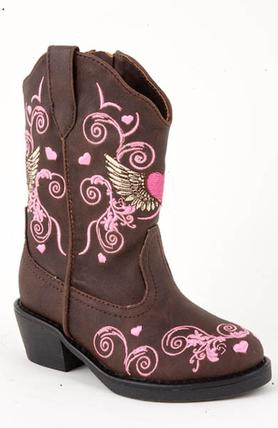 Roper Winged Heart Cowgirl Boot - Brown - Infant - Kids' Western Boots | Spur Western Wear