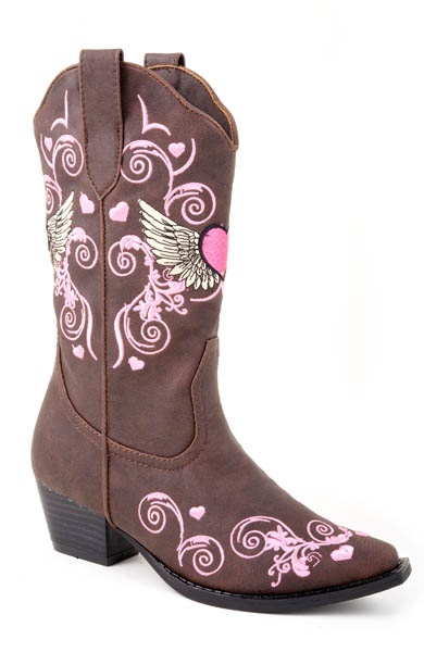 Roper Winged Heart Cowgirl Boot Brown Toddler Kids