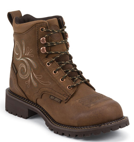 a2eace7782d Justin Gypsy Katerina Waterproof Lacer Work Boot - Steel Toe - Aged Bark -  Ladies