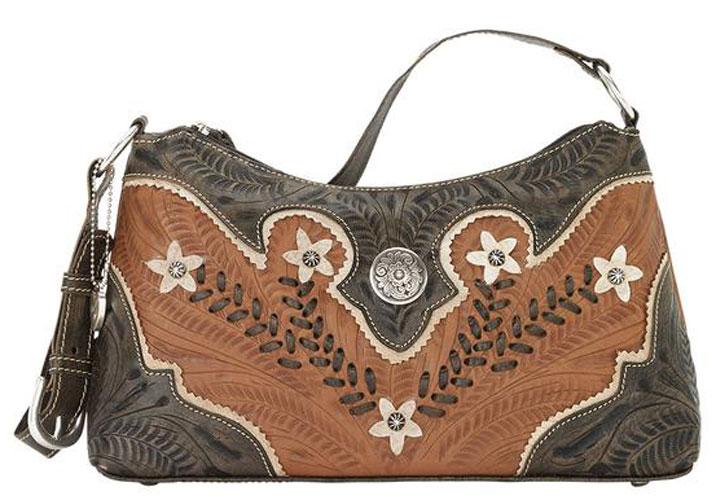 American West Desert Wildflower Shoulder Bag Charcoal Tan