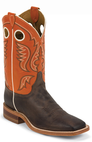 Justin Bent Rail Austin Western Boots - Orange - Men's Western Boots | Spur Western Wear