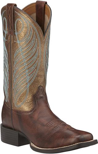 b2b10a35668 Ariat® Round Up Wide Square Toe Western Boot - Yukon Brown/Bronze - Ladies