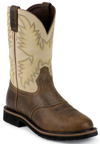 Justin Stampede Superintendent Steel Toe Work Boot - Creme - Men's Western Boots | Spur Western Wear