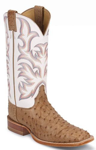 c2cca1b433b Justin Pascoe Full Quill Ostrich Western Boot - Tan