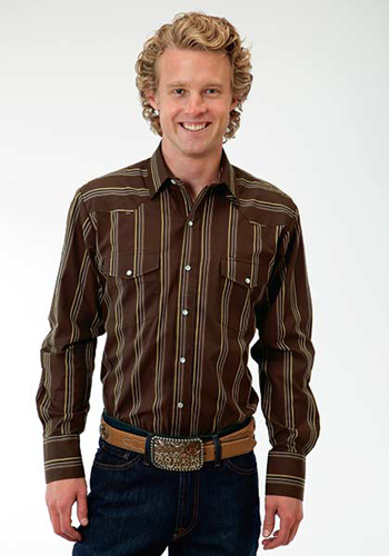 a5bf1b41 Roper Striped Long Sleeve Snap Front Western Shirt - Brown - Men's Western  Shirts | Spur Western Wear