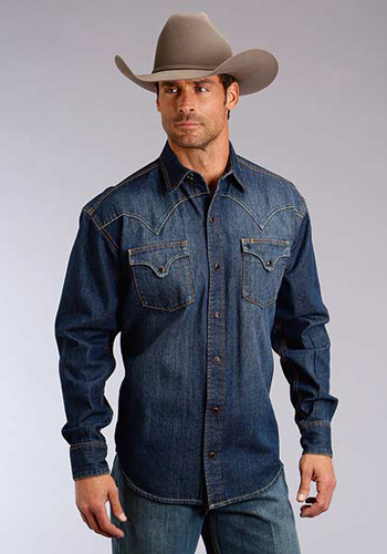 be7f737967 Stetson Denim Long Sleeve Snap Front Western Shirt - Dark Blue - Men s  Western Shirts
