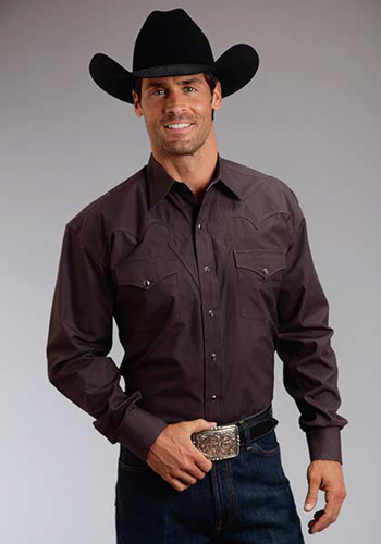 Stetson Poplin Long Sleeve Snap Front Western Shirt Dark