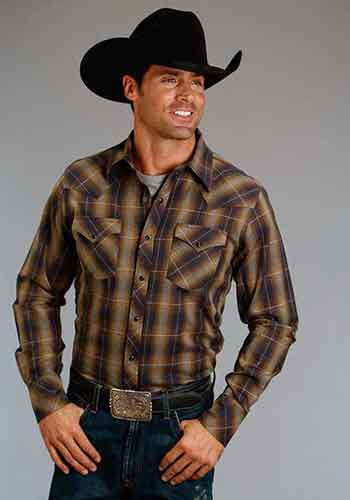 46c6b70546669 Stetson Marled Plaid Long Sleeve Snap Front Western Shirt - Brown - Men s  Western Shirts